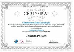 Certyfikat akademia dietetyczna