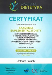Certyfikat akademia suplementacji dziecka