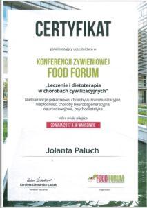 Certyfikat konferencja żywieniowa Food Forum