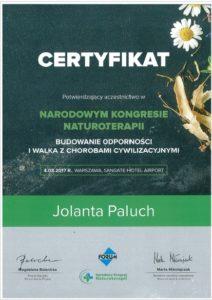 Certyfikat narodowy kongres naturo terapii